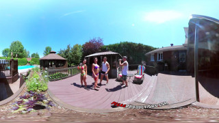 3-Way Porn - Group Orgy by the Pool in Public 360
